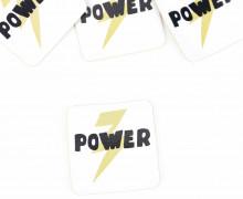 1 KUNSTLEDER LABEL - Bedruckt - Weiß - Heldenzeit - Power