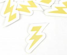 1 KUNSTLEDER LABEL - Bedruckt - Weiß - Heldenzeit - Blitz