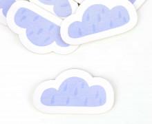 1 KUNSTLEDER LABEL - Bedruckt - Weiß - Heldenzeit - Wolke