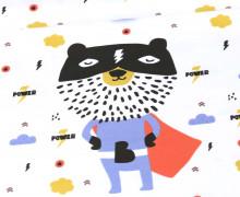 Jersey - Paneel - Power Bear - Heldenzeit - Bio-Qualität - Weiß - abby and me
