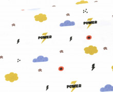 Jersey - Kombistoff - Power Bear - Blitz - Heldenzeit - Bio-Qualität - Weiß - abby and me