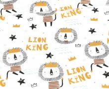 Jersey - Kombistoff - Little Lion King - Löwe - Heldenzeit - Bio-Qualität - Weiß - abby and me
