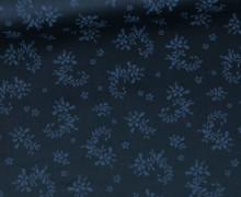 Baumwolle - Webware - Romantico - Blumenranken - Schwarzblau