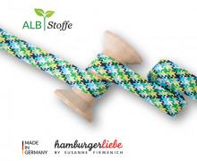 Flechtkordel - Hoodiekordel - Check - Flach - Twist Me - Hamburger Liebe - Weiß/Cyanblau/Stahlblau/Gelbgrün/Grasgrün