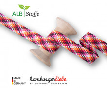 Flechtkordel - Hoodiekordel - Check - Flach - Twist Me - Hamburger Liebe - Weiß/Orange/Rot/Pink/Bordeaux