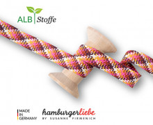 Flechtkordel - Hoodiekordel - Check - Flach - Twist Me - Hamburger Liebe - Weiß/Maisgelb/Rostorange/Pink/Bordeaux
