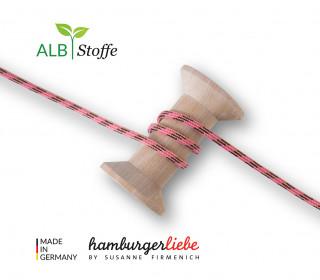 Flechtkordel - Slim - Twist Me - Multi - Hamburger Liebe - Pink/Dunkelbraun/Puder