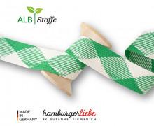 Flechtkordel - Hoodiekordel - Flat - Flach - Twist Me - Hamburger Liebe - Weiß/Grasgrün
