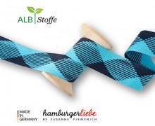 Flechtkordel - Hoodiekordel - Flat - Flach - Twist Me - Hamburger Liebe - Cyanblau/Stahlblau