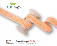 Hoodiekordel - Flachkordel - Cord Me - 12mm - Bloom - Melange - Hamburger Liebe - Weiß/Orange