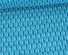 Bio-Elastic Minijacquard Jersey - 3D - Leafy Knit - Bloom - Hamburger Liebe - Cyanblau