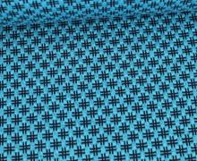Bio-Elastic Minijacquard Jersey - 3D - Hashtag Knit - Bloom - Hamburger Liebe - Cyanblau