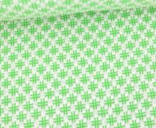 Bio-Elastic Minijacquard Jersey - 3D - Hashtag Knit - Bloom - Hamburger Liebe - Weiß/Maigrün