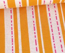 Bio-Jacquard - 3Farb Spezial Jacquard Jersey - Pin Stripes - Bloom - Maisgelb - Hamburger Liebe