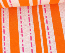 Bio-Jacquard - 3Farb Spezial Jacquard Jersey - Pin Stripes - Bloom - Orange - Hamburger Liebe
