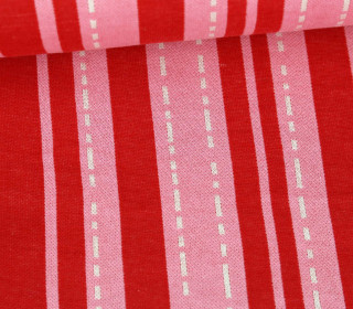 Bio-Jacquard - 3Farb Spezial Jacquard Jersey - Pin Stripes - Bloom - Rot - Hamburger Liebe
