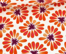 Bio-Tencel-Jersey - All Over - Bloom - Weiß/Orange - Hamburger Liebe