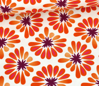 Bio-Tencel-Jersey - All Over - Bloom - Weiß/Orange - Hamburger Liebe