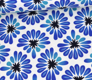 Bio-Tencel-Jersey - All Over - Bloom - Weiß/Blau - Hamburger Liebe