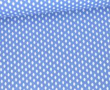 Baumwolle - Webware - Weiße Mini Rauten mit Punkt - Hellblau