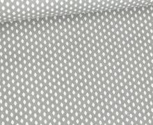 Baumwolle - Webware - Weiße Mini Rauten mit Punkt - Hellgrau