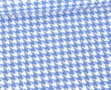 Baumwolle - Webware - Hahnentrittmuster - Hellblau/Weiß
