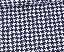 Baumwolle - Webware - Hahnentrittmuster - Stahlblau/Weiß