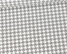 Baumwolle - Webware - Hahnentrittmuster - Hellgrau/Weiß