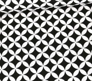 Baumwolle - Webware - Kreise & Gebogene Rauten - Schwarz/Weiß