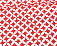 Baumwolle - Webware - Kreise & Gebogene Rauten - Rot/Weiß