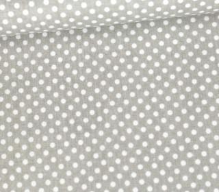 Baumwolle - Webware - Punktelino - Hellgrau/Weiß