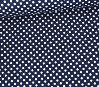 Baumwolle - Webware - Punktelino - Stahlblau/Weiß