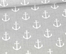 Baumwolle - Webware - Anker - Maritim - Hellgrau/Weiß