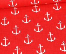 Baumwolle - Webware - Anker - Maritim - Rot/Weiß