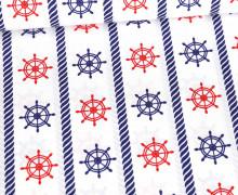 Baumwolle - Webware - Steuerrad & Tau - Maritim - Weiß/Stahlblau/Rot