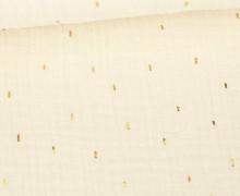 Musselin - Muslin - Double Gauze - Goldstriche - Glänzend - Ecru