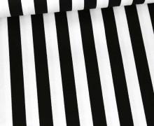 Baumwoll-Köper - Streifen - Schwarz/Weiß