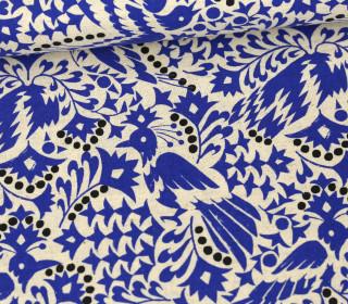 Canvas - Baumwolle - Leinen - Vogelmuster - Kokka - Ecru/Royalblau/Schwarz