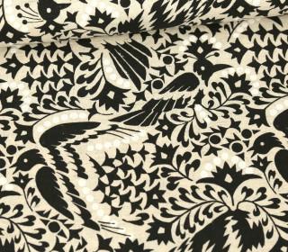 Baumwolle - Leinen - Vogelmuster - Kokka - Ecru/Schwarz/Weiß