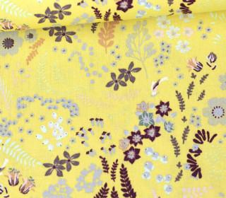 Baumwolle - Webware - Poplin - Mix Flowers - Hellgelb