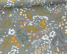 Baumwolle - Webware - Poplin - Mix Flowers - Lichtgrün Dunkel