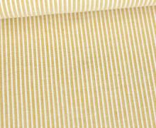 Seersucker - Baumwolle - Streifen - Weiß/Senfgelb