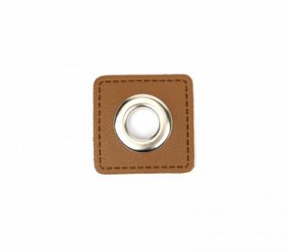 Kunstleder Öse - Quadrat - 11mm - Square - Patches - Braun/Silber