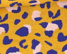 Musselin - Muslin - Leo Animal Print - Double Gauze - Senfgelb