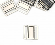 1 Bikiniverschluss - Flach - Metall - Silber
