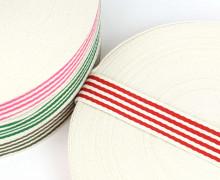 1m Gurtband - Streifen - 35mm - Warmweiß/Rot