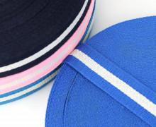1m Gurtband - Breiter Weißer Streifen - 40mm - Blau