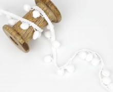1 Meter Bommelborte Groß - Bommeln - Pomponborte - Weiß