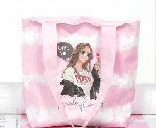 DIY-NÄHSET - Motivbeutel - Shopper - Tie-Dye Love - Batik - Stripes - Rosa - Heart Breaker Girl - abby and me