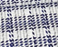 Viskose - Blusenstoff  - Rautenmuster - Weiß/Grau/Blau